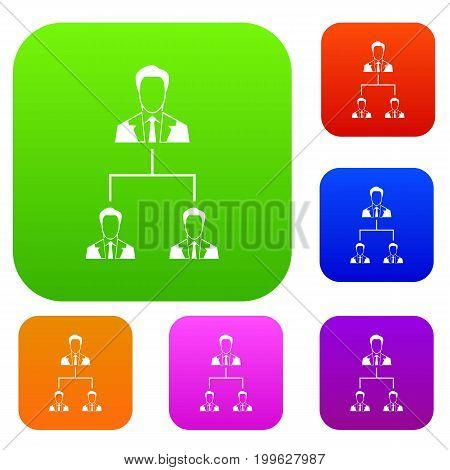Company structure set icon in different colors isolated vector illustration. Premium collection
