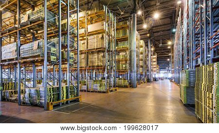 Moscow - August 1, 2017: The large warehouse. Moscow is a modern city with well-developed logistics infrastructure.