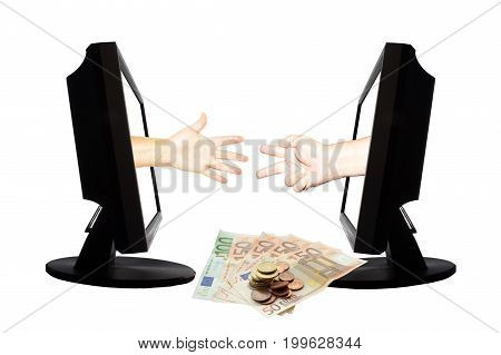 Virtual game by internet stone - scissors - paper thwo hands represent paper and scissors from displays on white background. Down are money.
