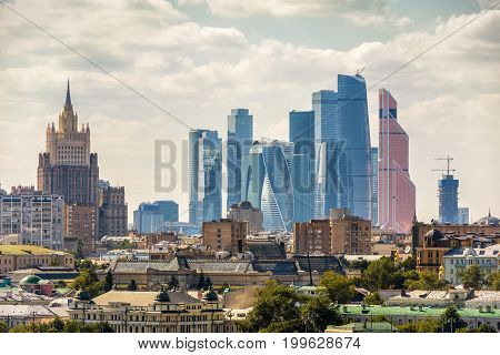 View of Moscow, Russia. The building of the Ministry of Foreign Affairs and Moscow International Business Center (Moscow-city).