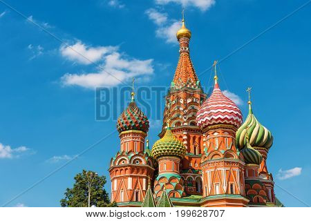 The Cathedral of Vasily the Blessed or Saint Basil`s Cathedral in the Red Square in Moscow, Russia. St. Basil's Cathedral was built in the 16th century and is a symbol of Russian culture.