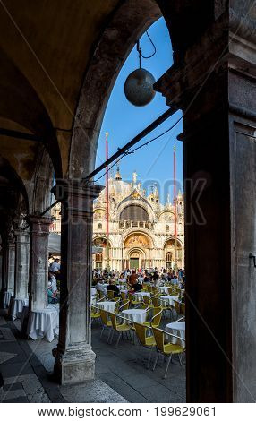 Venice, Italy - May 18, 2017: Basilica di San Marco (Saint Mark`s Basilica) in the Piazza San Marco. This is the main square of Venice.