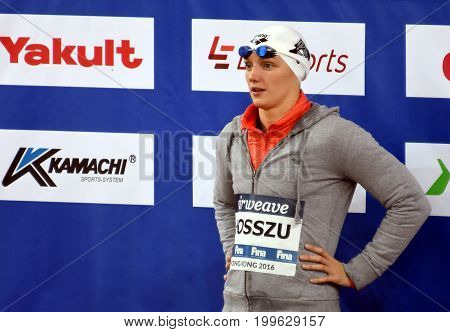 Hong Kong China - Oct 30 2016. HOSSZU Katinka (HUN) at the Victory Ceremony of the Women's Butterfly 200m. FINA Swimming World Cup.