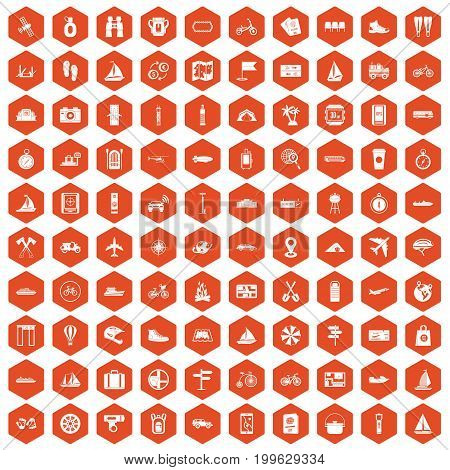 100 voyage icons set in orange hexagon isolated vector illustration