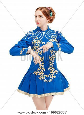 Beautiful Woman In Dress For Irish Dance Pointing On Hand Isolated
