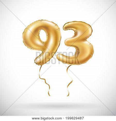 Vector Golden Number 93 Ninety Three Metallic Balloon. Party Decoration Golden Balloons. Anniversary