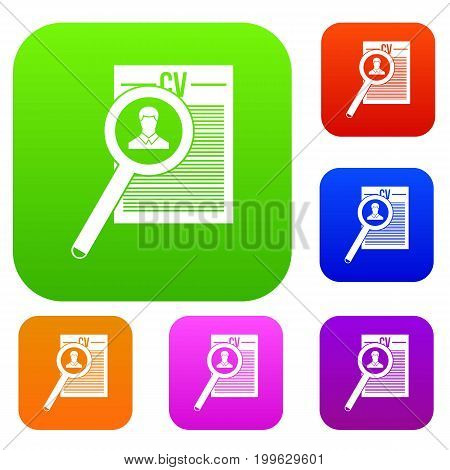 Magnifying glass over curriculum vita set icon in different colors isolated vector illustration. Premium collection