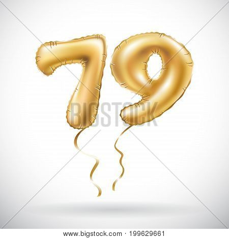 Vector Golden Number 79 Seventy Nine Metallic Balloon. Party Decoration Golden Balloons. Anniversary