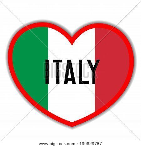 Heart sign with the Italian flag I love Italy