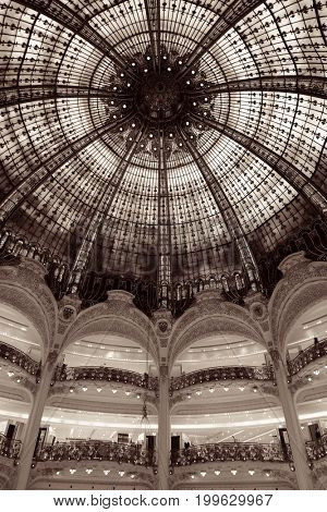 PARIS, FRANCE - MAY 13: Galeries Lafayette interior view on May 13, 2015 Designed by architect Georges Chedanne and as the famous department store, it recorded earnings of over 1 billion euro in 2009