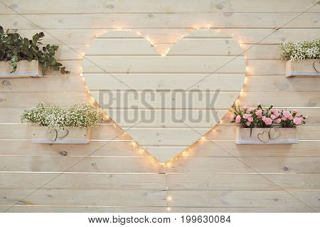 Beautiful wedding heart decor for photographing in rustic style
