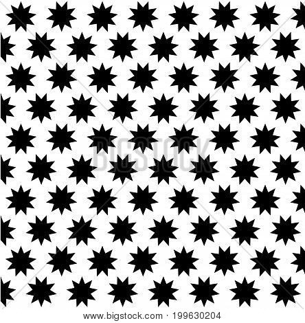 Black nine pointed star on white background - vector pattern , Symbol of Bahai Faith pattern , Baha'i symbol