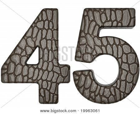 Alligator skin font 4 5 digits isolated on white poster