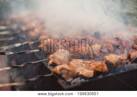Barbeque sticks with meat, on the grill and heavy smoke above brazier.