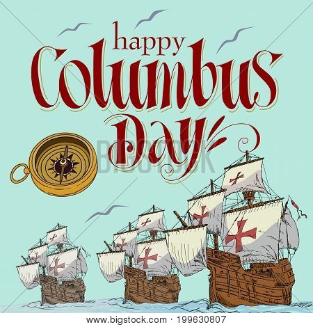Happy Columbus Day Blue