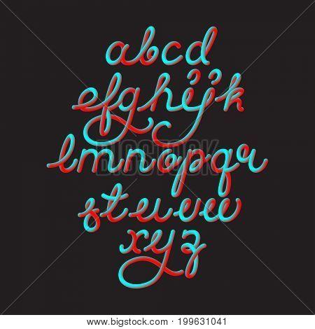 Color 3D alphabet vector pipe font on black background