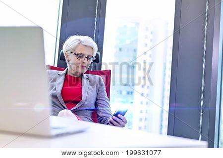 Mature businesswoman using mobile phone at desk in office
