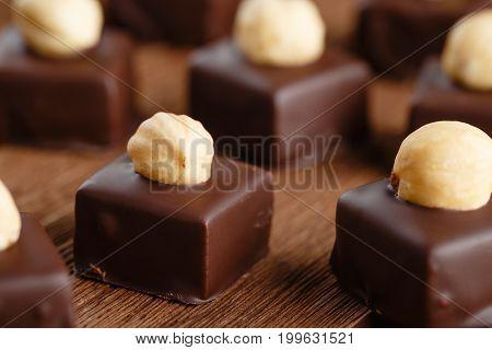 Handmade Chocolate Bonbons With Hazelnut