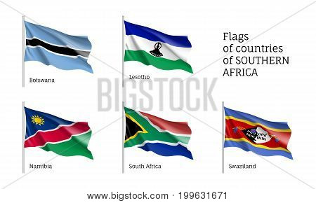 Southern Africa flag set. Historical, cultural unique and important state element, travel agency and tourism advertising poster. Illustration on white background