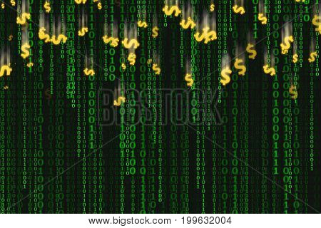 Binary code black and green background with dollar fell down Concept of digital age. Algorithm binary data code decryption and encoding row matrix illustration background.