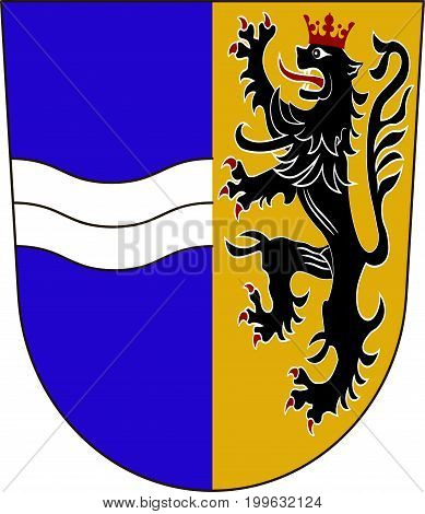 Coat of arms of Rhein-Neckar-Kreis is a district in the northwest of Baden-Wurttemberg Germany. Vector illustration from the