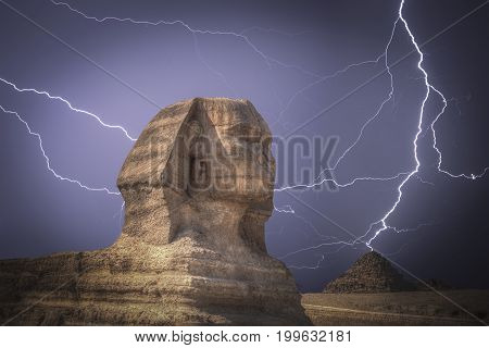 Pyramids In Giza. Powerful Lightning Strike.