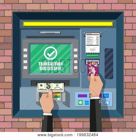 Bank ATM. Automatic teller machine. Program electronic device for payments and withdraw cash from plastic card. Economic, bank and finance industry. Vector illustration in flat style