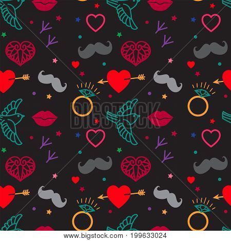 Gloomy Patterns. Hipster Vintage Seamless Pattern Vector On A Black Background. Heart Lips Mustache Jewels Bird Images Pattern. Tatoo Style Elements Vector Illustration.