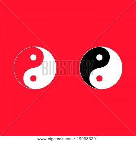 Yin Yang Symbol White Color Icon .