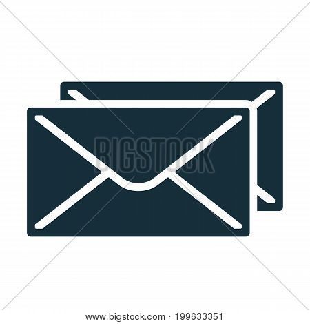 Envelope Icon Flat Black Closed Two