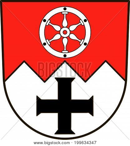 Coat of arms of Main-Tauber-Kreis is a district in the northeast of Baden-Wurttemberg Germany. Vector illustration from the