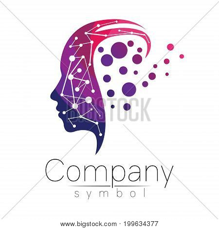 Vector symbol of human head. Profile face. Violet pink color isolated on white background. Concept sign for business, science, psychology, medicine. Creative sign design Man silhouette. Modern logo.