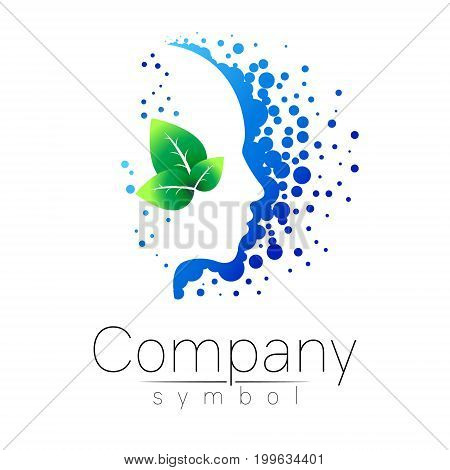 Vector symbol of human head and leaf. Profile face. Blue green color isolated on white background. Concept sign for business, science, psychology, medicine. Creative sign design Man silhouette. logo.