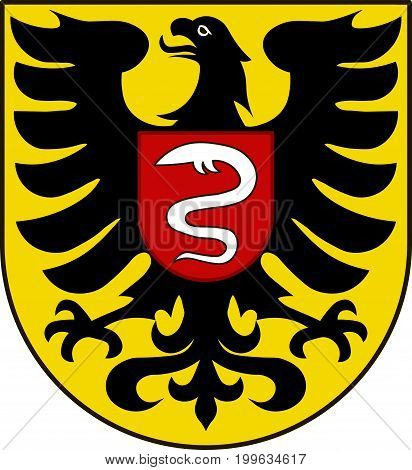 Coat of arms of Aalen is a former Free Imperial City in Baden-Wurttemberg Germany. Vector illustration from the