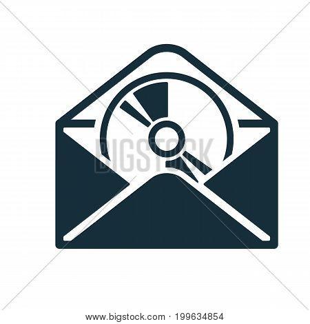 Envelope Icon Flat Black Open Disc