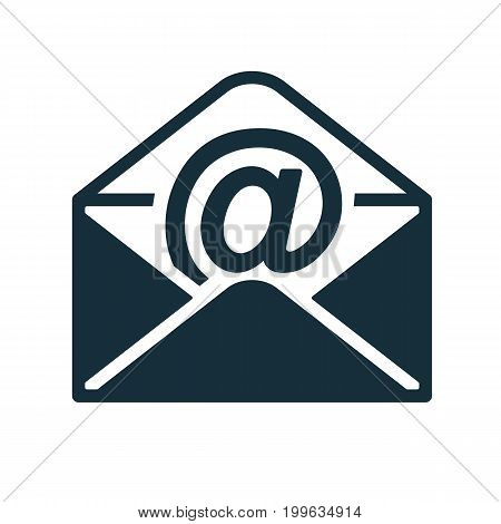 Envelope Icon Flat Black Closed Email In