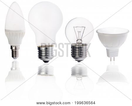 four different electric lamps isolated on white background