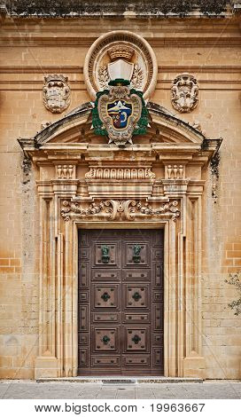 St. Paul's Cathedral door, Mdina, Malta