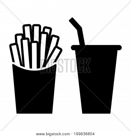 French Fries Cola Black Icon