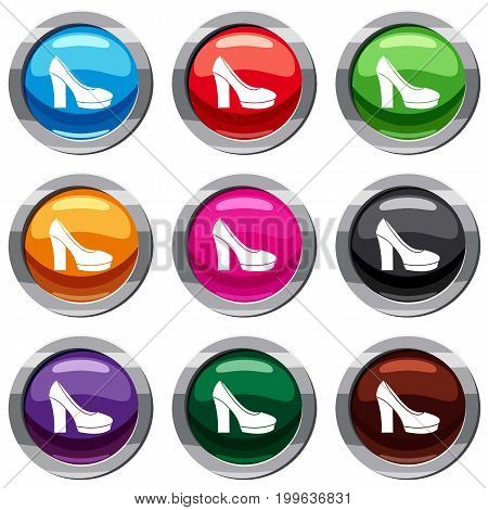 High heel shoes set icon isolated on white. 9 icon collection vector illustration