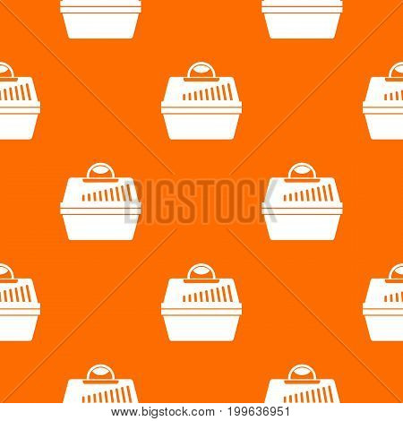 Portable cage for pets pattern repeat seamless in orange color for any design. Vector geometric illustration