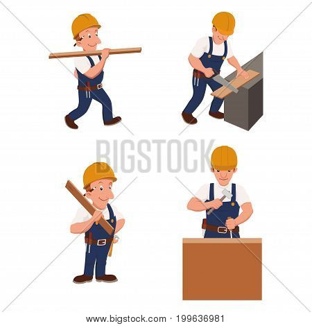 Set of four builders on construction vector illustration.