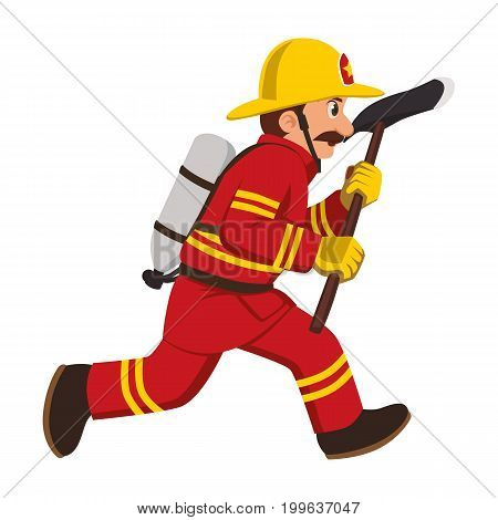 The image of a firefighter running with a hatchet.