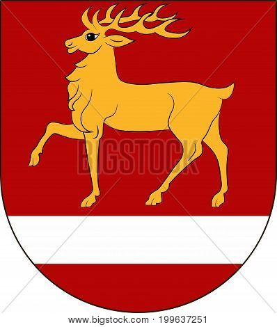 Coat of arms of Sigmaringen is a district in the south of Baden-Wurttemberg Germany. Vector illustration from the