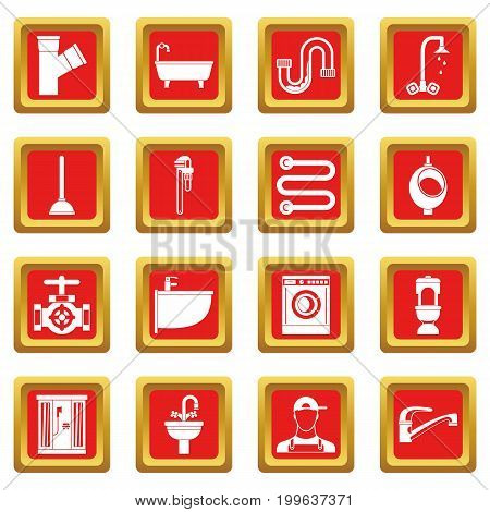 Plumbing icons set in red color isolated vector illustration for web and any design