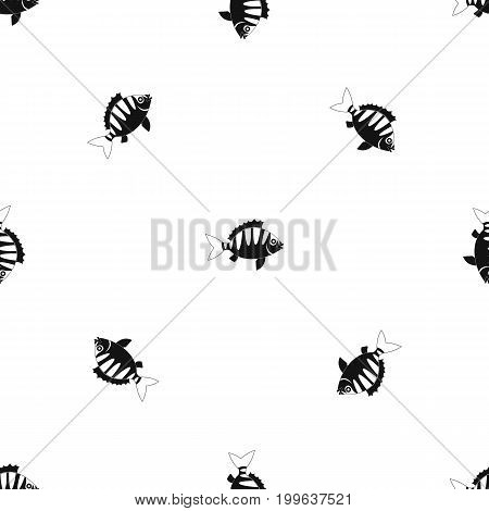Perch pattern repeat seamless in black color for any design. Vector geometric illustration