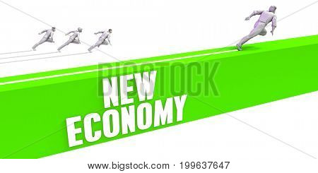 New Economy as a Fast Track To Success 3D Illustration Render