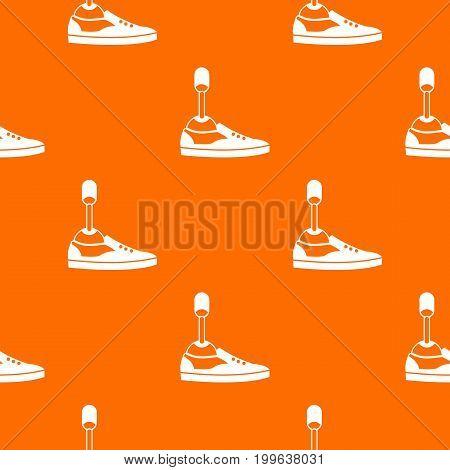 Prosthetic leg pattern repeat seamless in orange color for any design. Vector geometric illustration