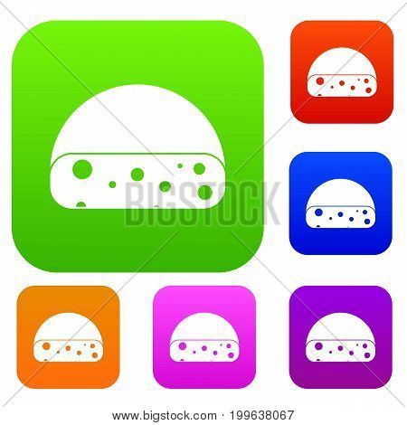 Dutch cheese set icon in different colors isolated vector illustration. Premium collection