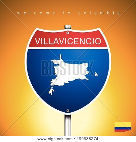 An Sign Road America Style with state of Colombia with Yellow background and message VILLAVICENCIO and map vector art image illustration